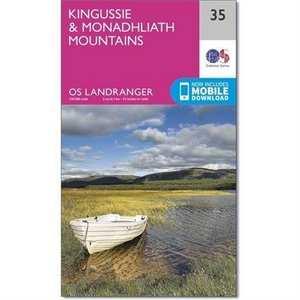 OS Landranger ACTIVE Map 35 Kingussie & Monadhliath Mountains