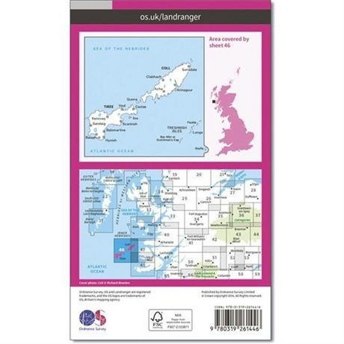 Ordnance Survey OS Landranger ACTIVE Map 46 Coll & Tiree