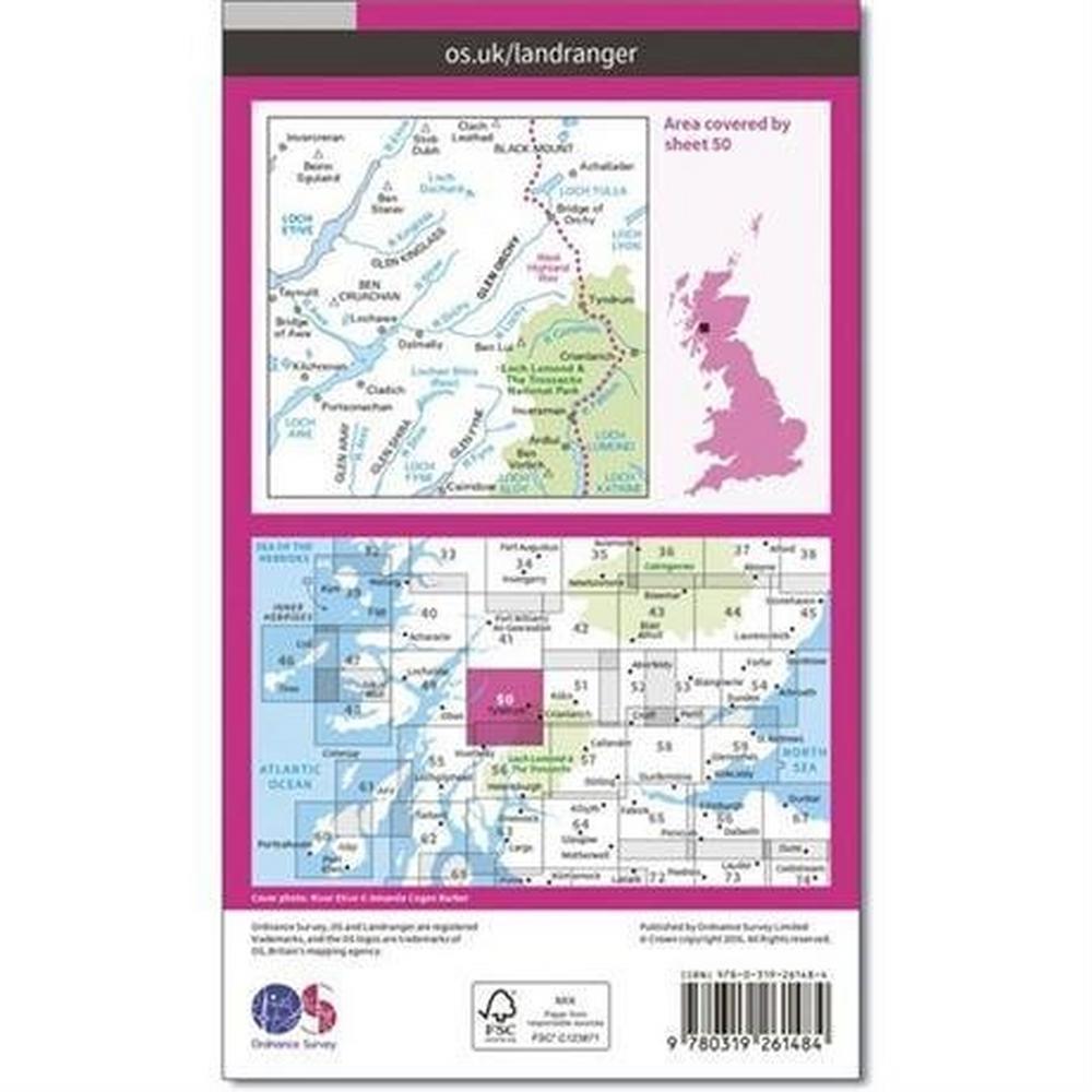 Ordnance Survey OS Landranger ACTIVE Map 50 Glen Orchy & Loch Etive
