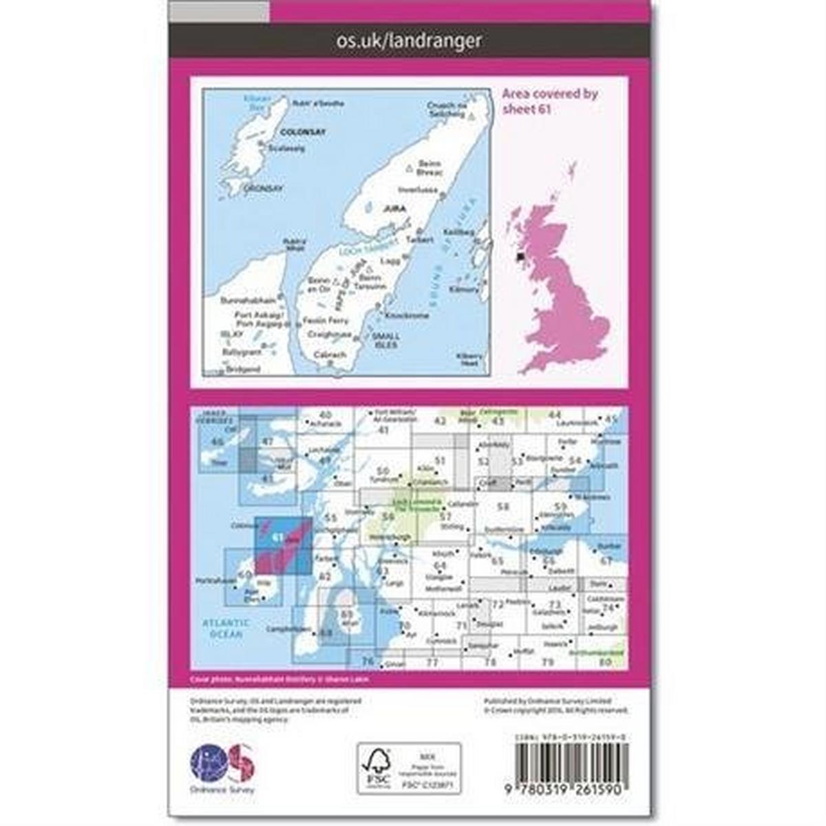 Ordnance Survey OS Landranger ACTIVE Map 61 Jura & Colonsay