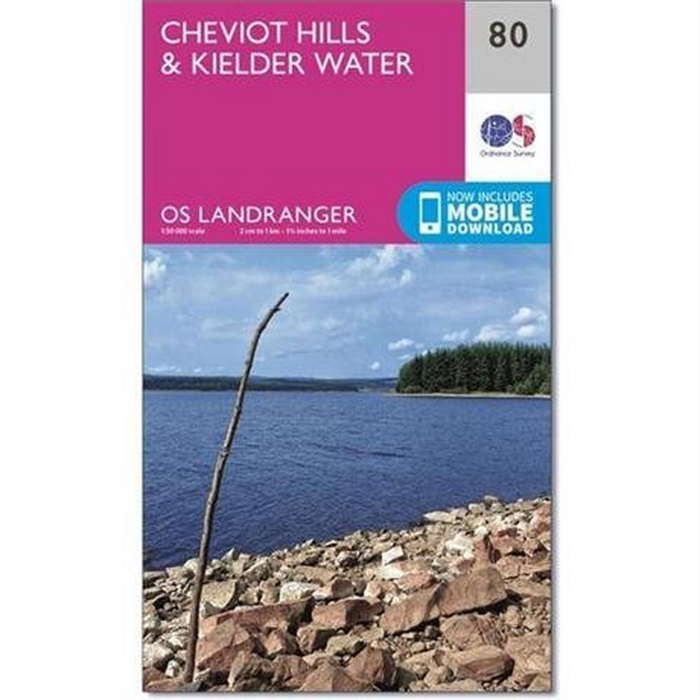 Ordnance Survey OS Landranger ACTIVE Map 80 Cheviot Hills & Kielder Water