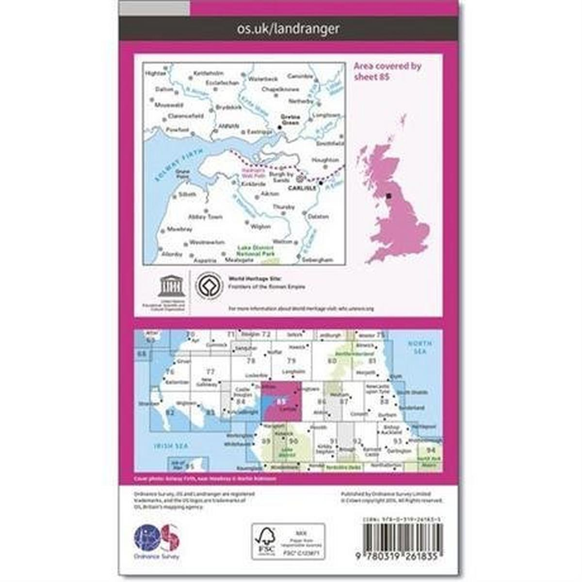 Ordnance Survey OS Landranger ACTIVE Map 85 Carlisle & Solway Firth, Gretna Green