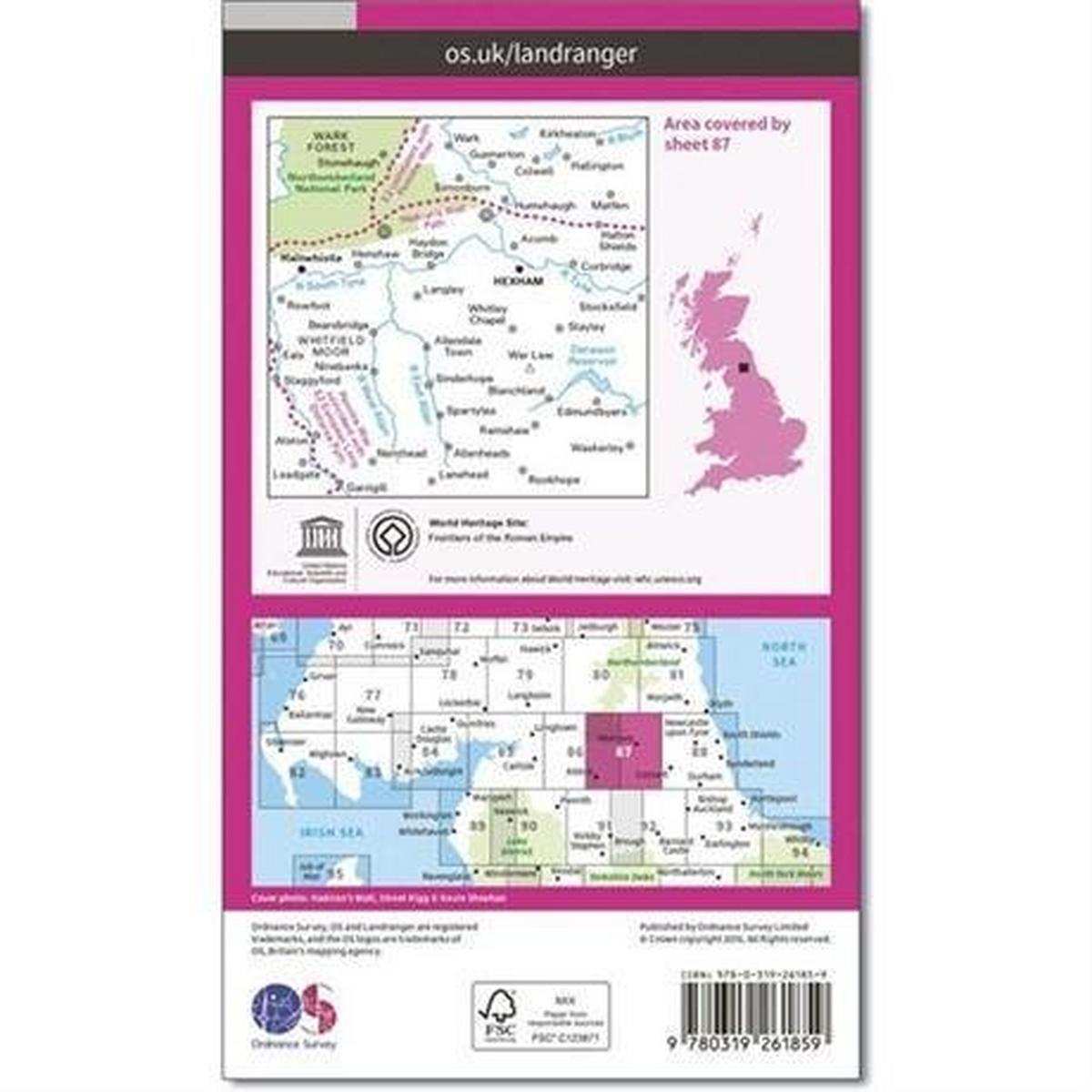 Ordnance Survey OS Landranger ACTIVE Map 87 Hexham & Haltwhistle