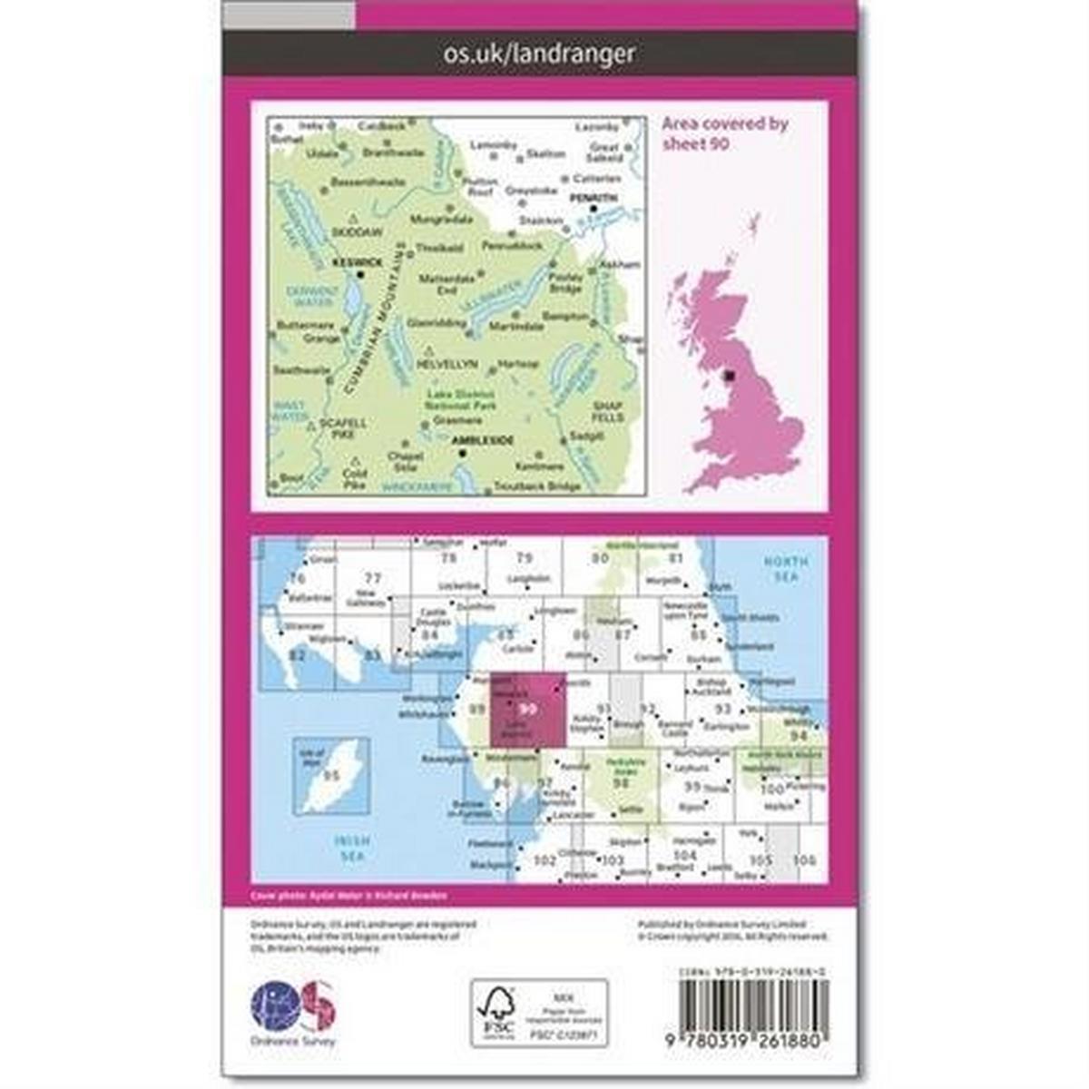 Ordnance Survey OS Landranger ACTIVE Map 90 Penrith & Keswick, Ambleside
