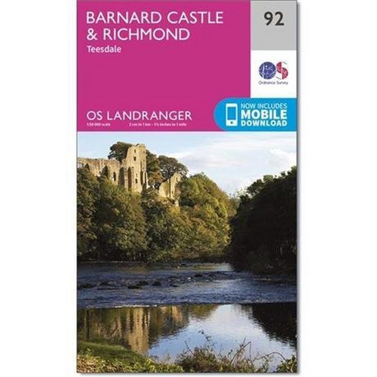 Ordnance Survey OS Landranger ACTIVE Map 92 Barnard Castle and Richmond