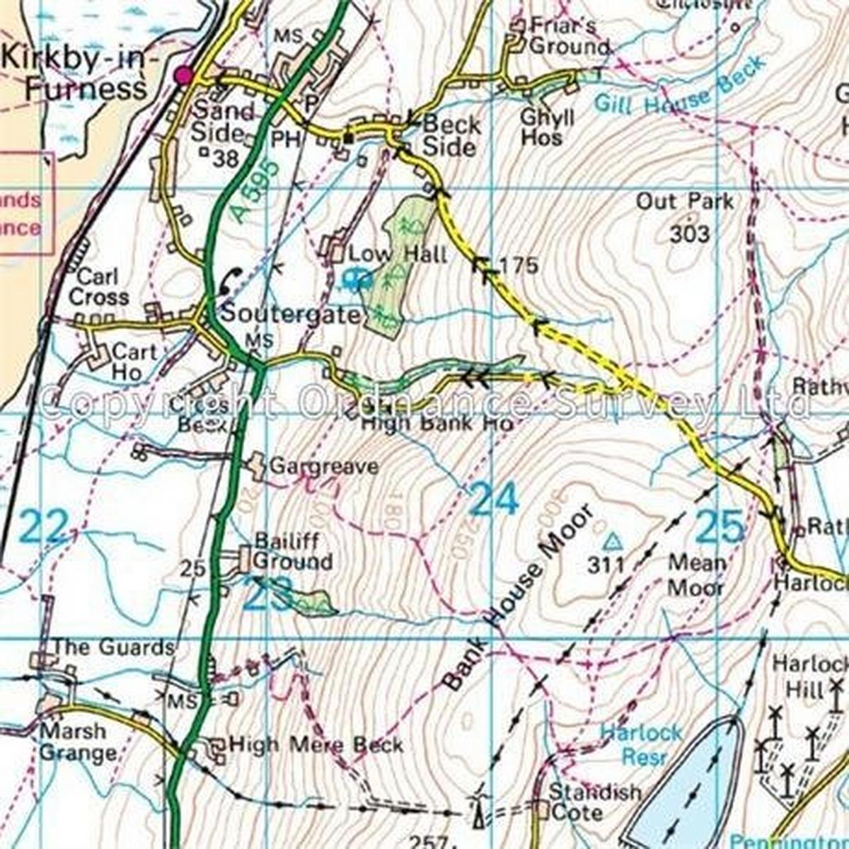 Ordnance Survey OS Landranger ACTIVE Map 96 Barrow-in-Furness & South Lakeland