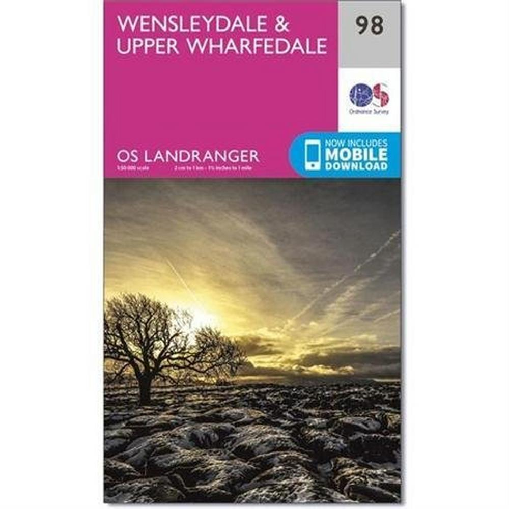 Ordnance Survey OS Landranger ACTIVE Map 98 Wensleydale & Upper Wharfedale