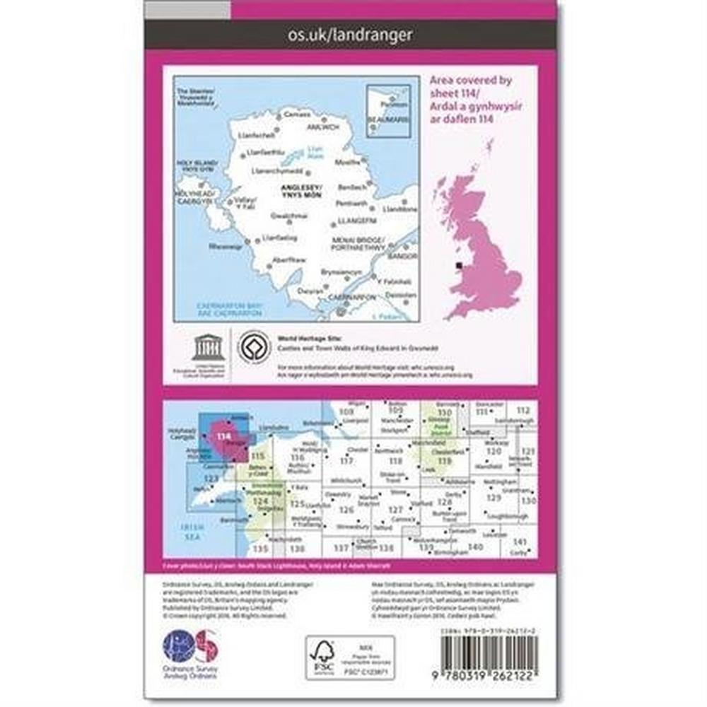 Ordnance Survey OS Landranger ACTIVE Map 114 Anglesey / Ynys Mon