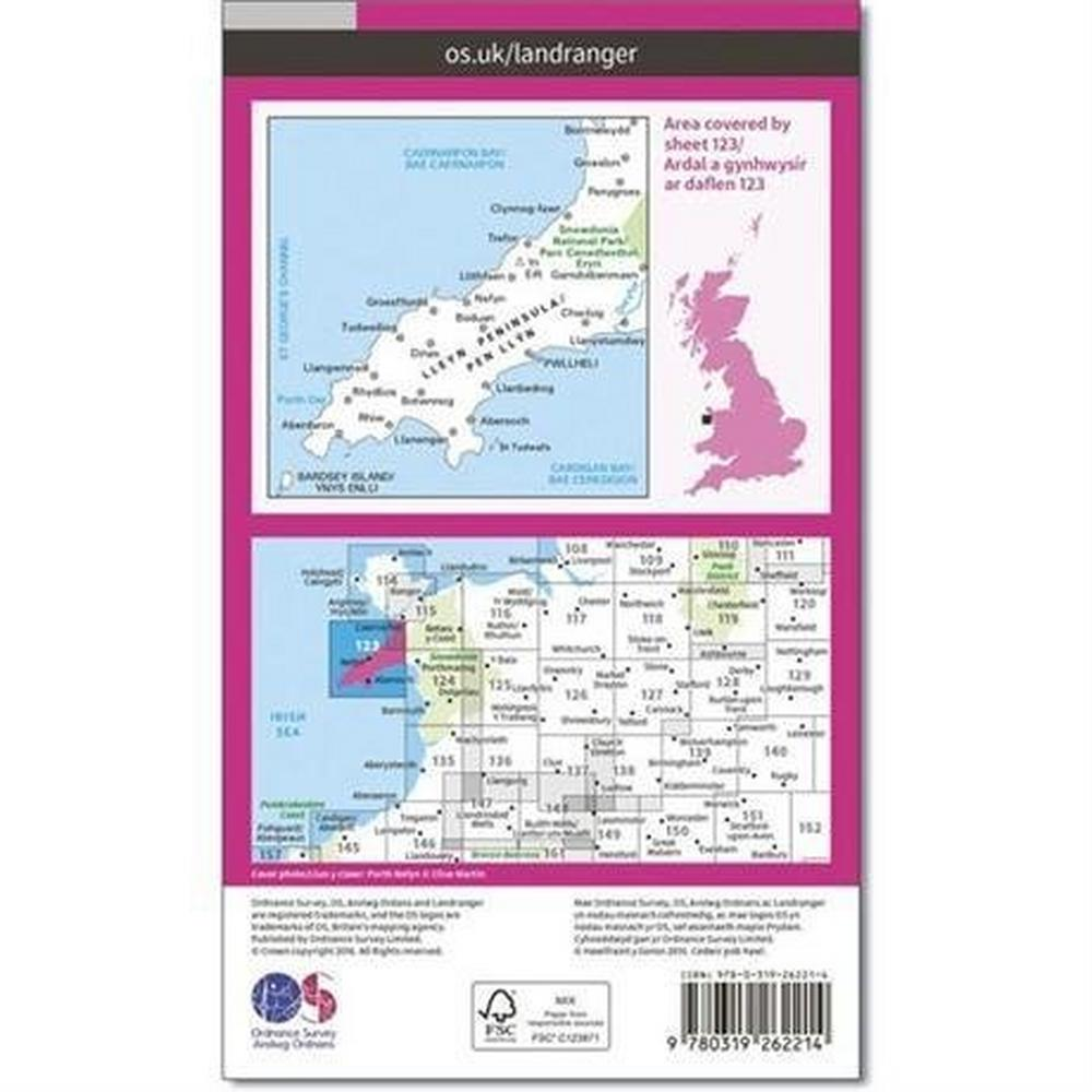 Ordnance Survey OS Landranger Map 123 Lleyn Peninsula