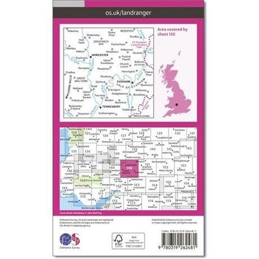 Ordnance Survey OS Landranger Map 150 Worcester & The Malverns, Evesham & Tewkesbury