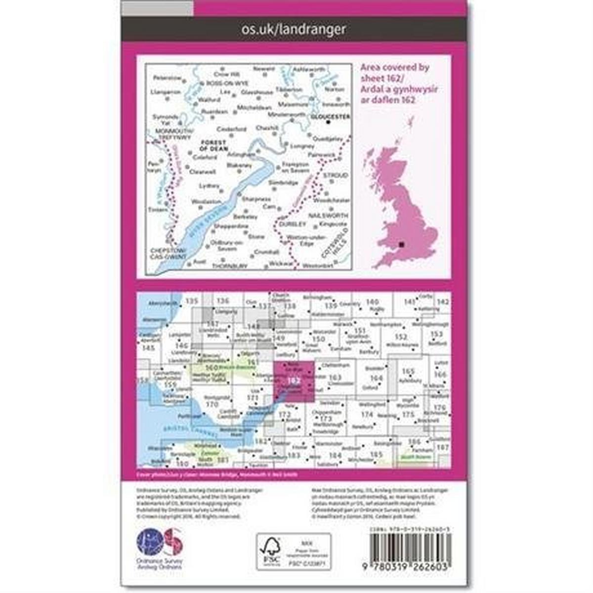 Ordnance Survey OS Landranger Map 162 Gloucester & Forest of Dean