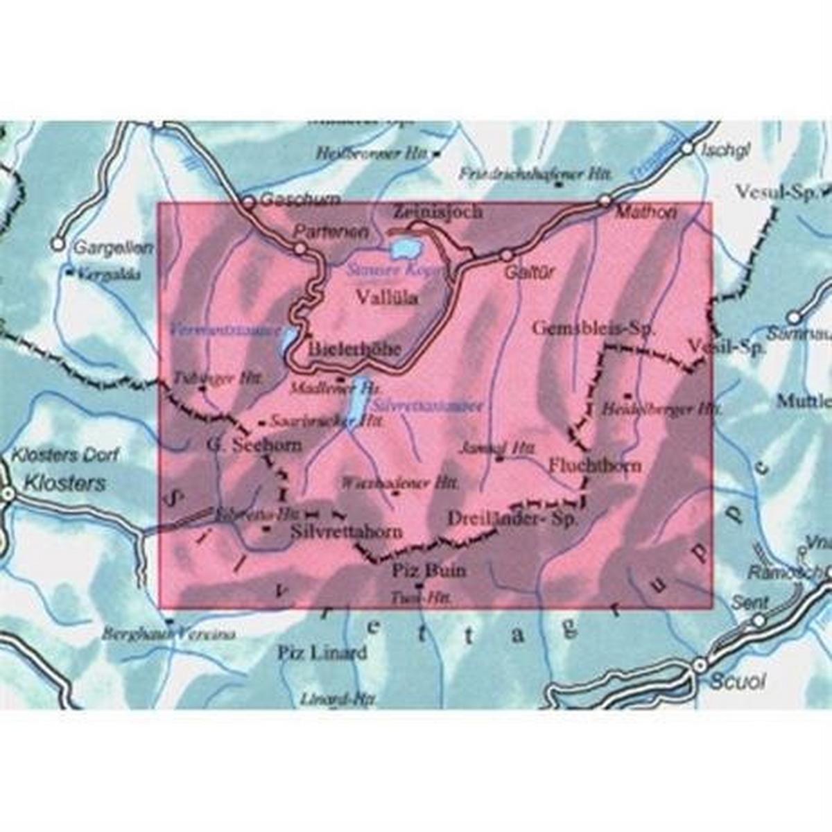 Miscellaneous Austria Map Silvrettagruppe 26