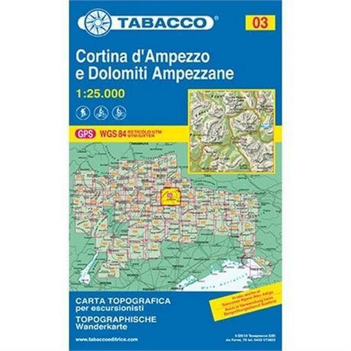 Miscellaneous Italy Tabacco Map 03: Cortina d'Ampezzo
