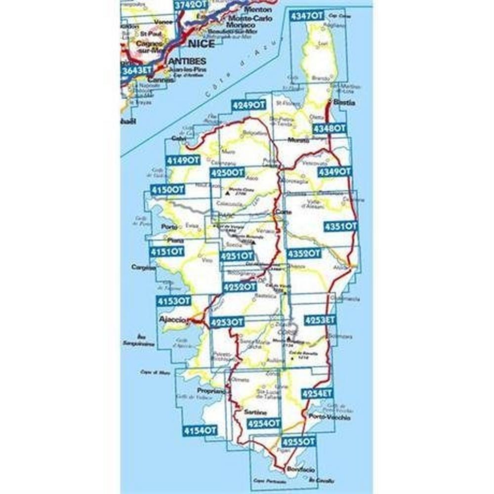 Ign Maps France Map 4250 OT Corsica: Corte - Monte Cinto 1:25,000