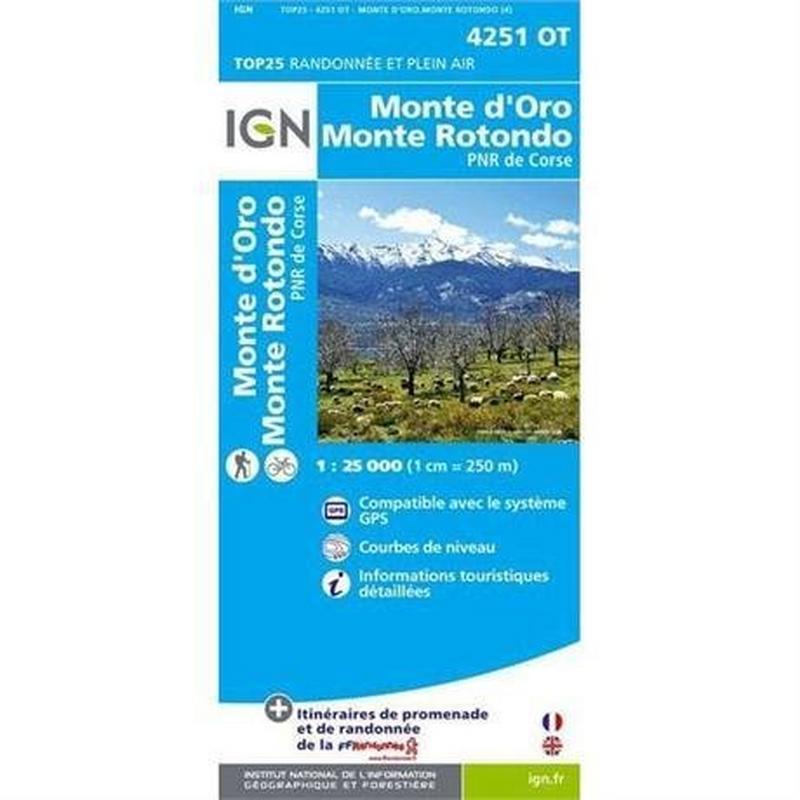 France Map 4251 OT Corsica: Monte d'Oro - Monte Rotondo GR20 1:25,000