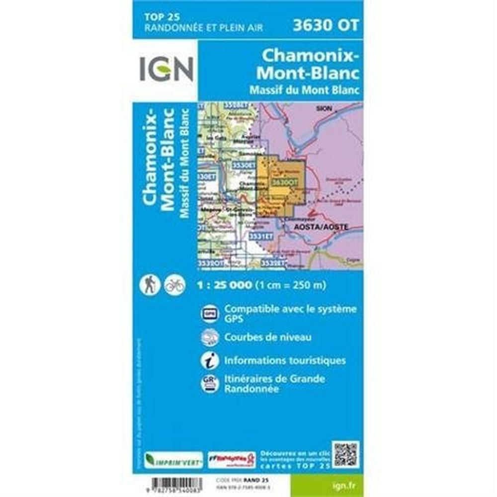 Ign Maps France IGN Map Chamonix - Massif du Mont Blanc 3630 OT 1:25,000