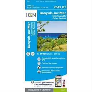 France IGN Map: Banyuls Col de Perthus 2549 OT 1:25,000