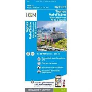 France IGN Map: Tignes - Val d'Isere 3633 ET 1:25,000