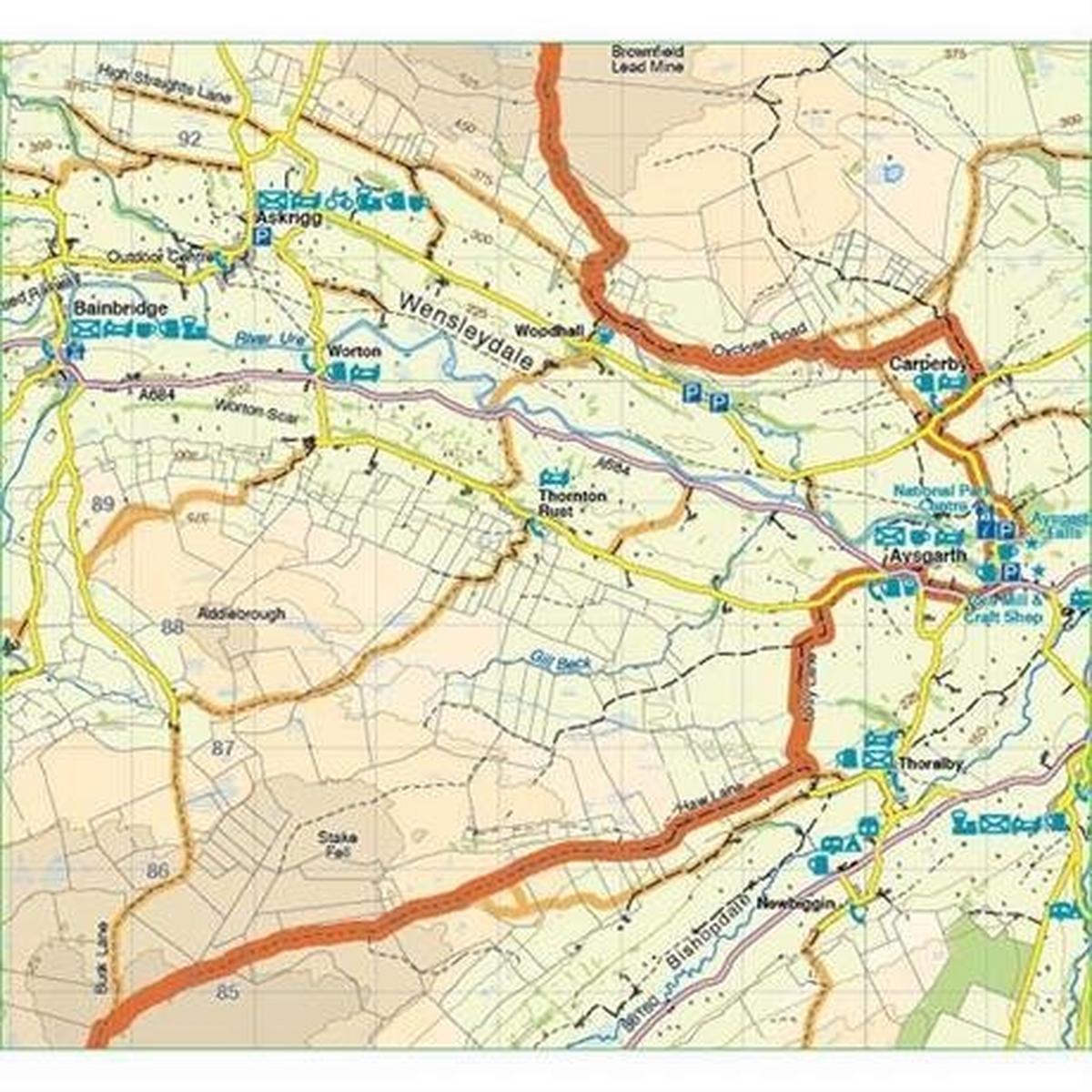 Harveys Harvey Map - XT60: Coast to Coast - East -  for Mountain Bikers and Cyclists
