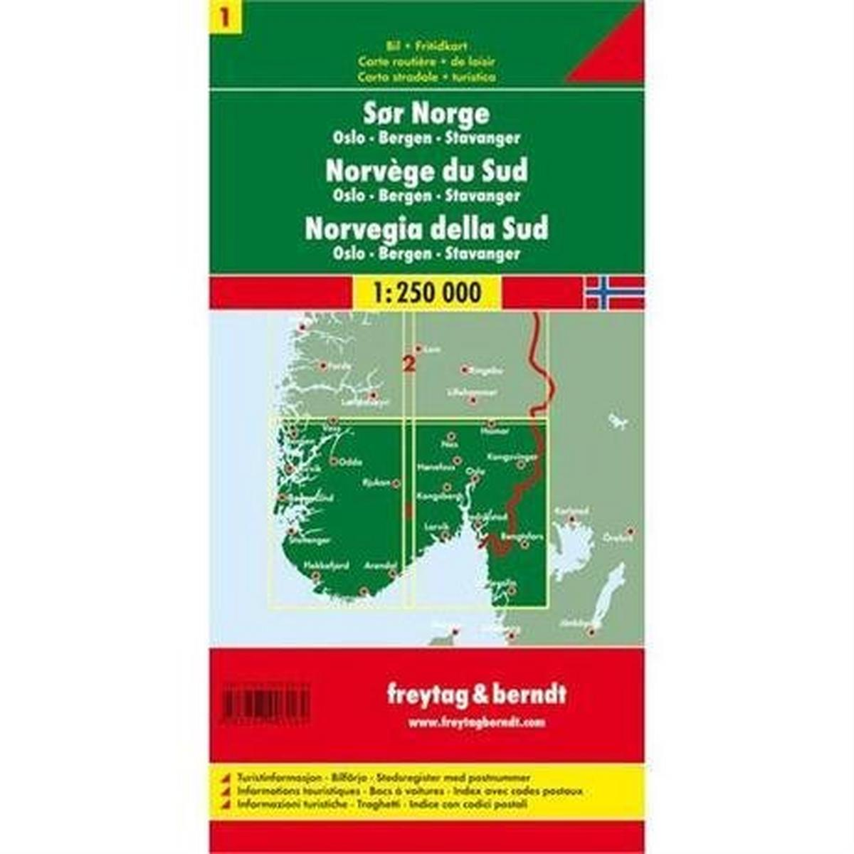Miscellaneous Norway Map: South - Oslo - Bergen - Stavanger 1:250,000