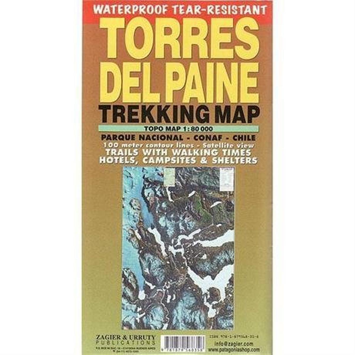 Miscellaneous Chile Map: Torres Del Paine Trekking