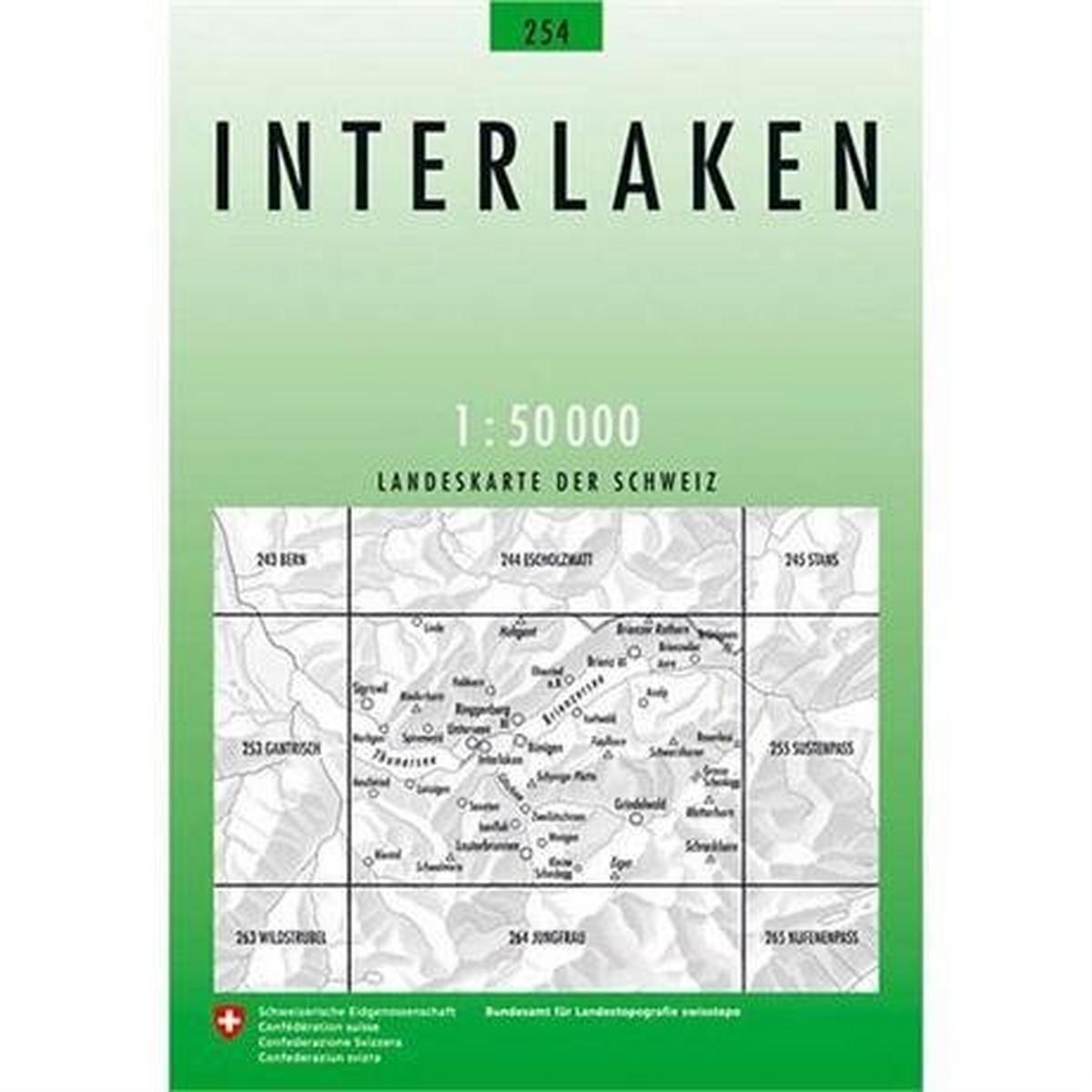 Miscellaneous Switzerland Map 254 Interlaken