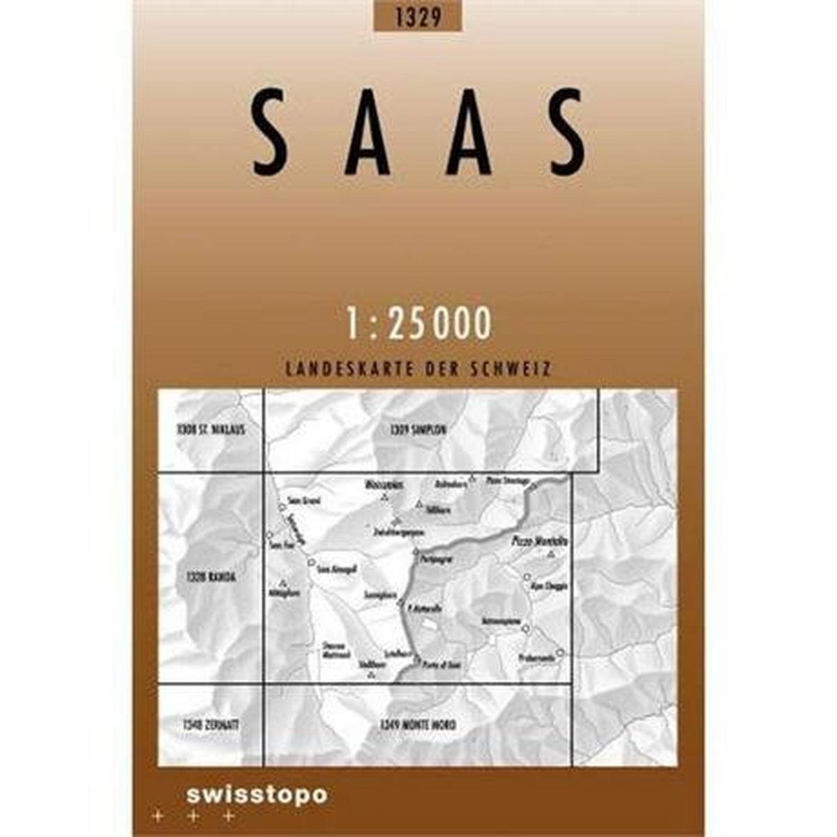 Miscellaneous Switzerland Map 1329 Saas