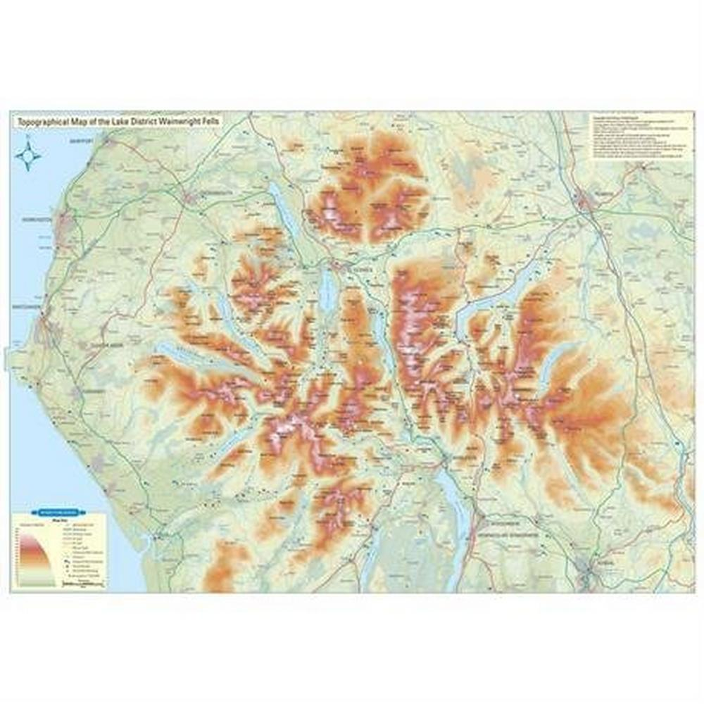 Miscellaneous Topographical Map of the Lake District Wainwright Fells (FLAT)