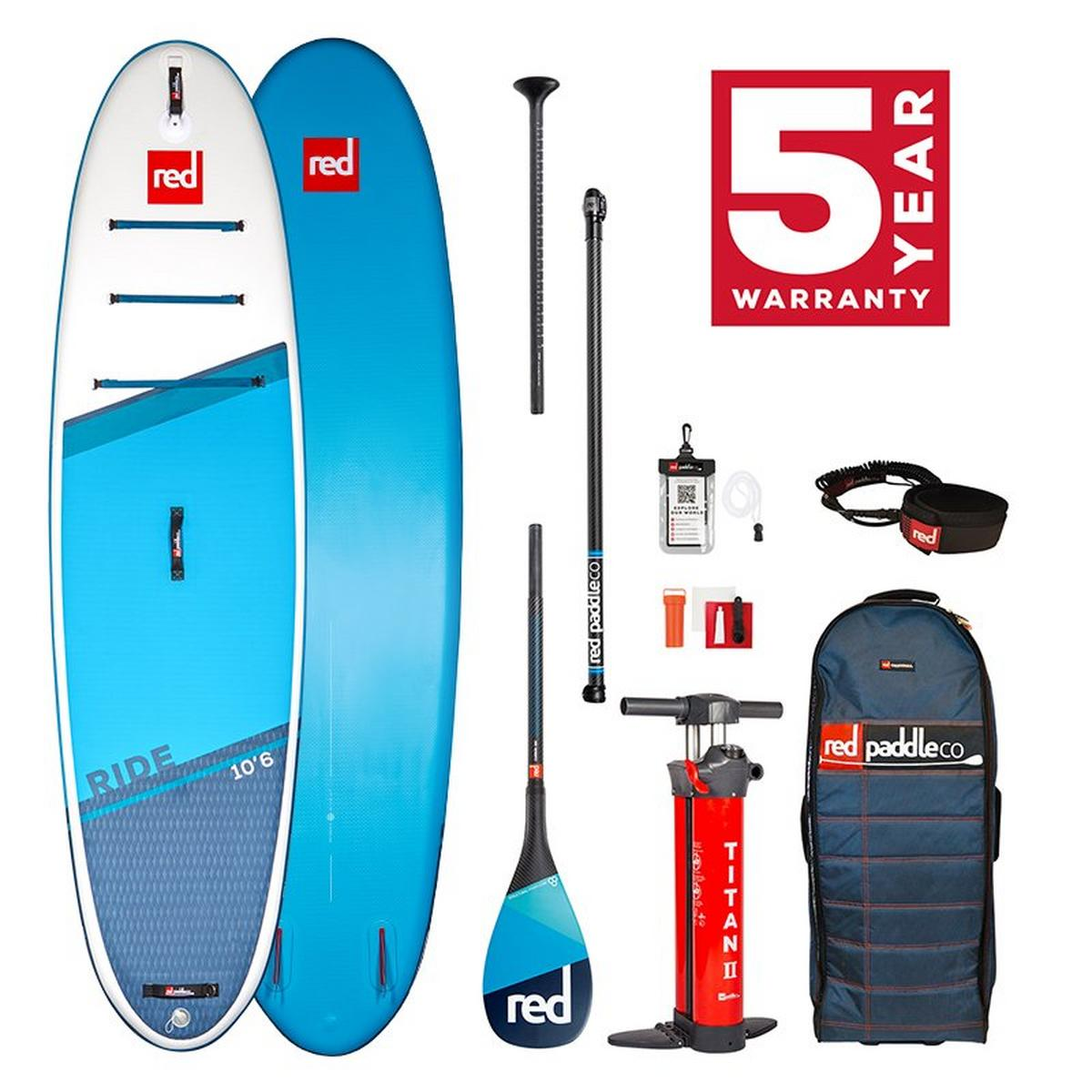 """Red Paddle Ride 10'6"""" Sup Board Package with Carbon 100 Paddle"""