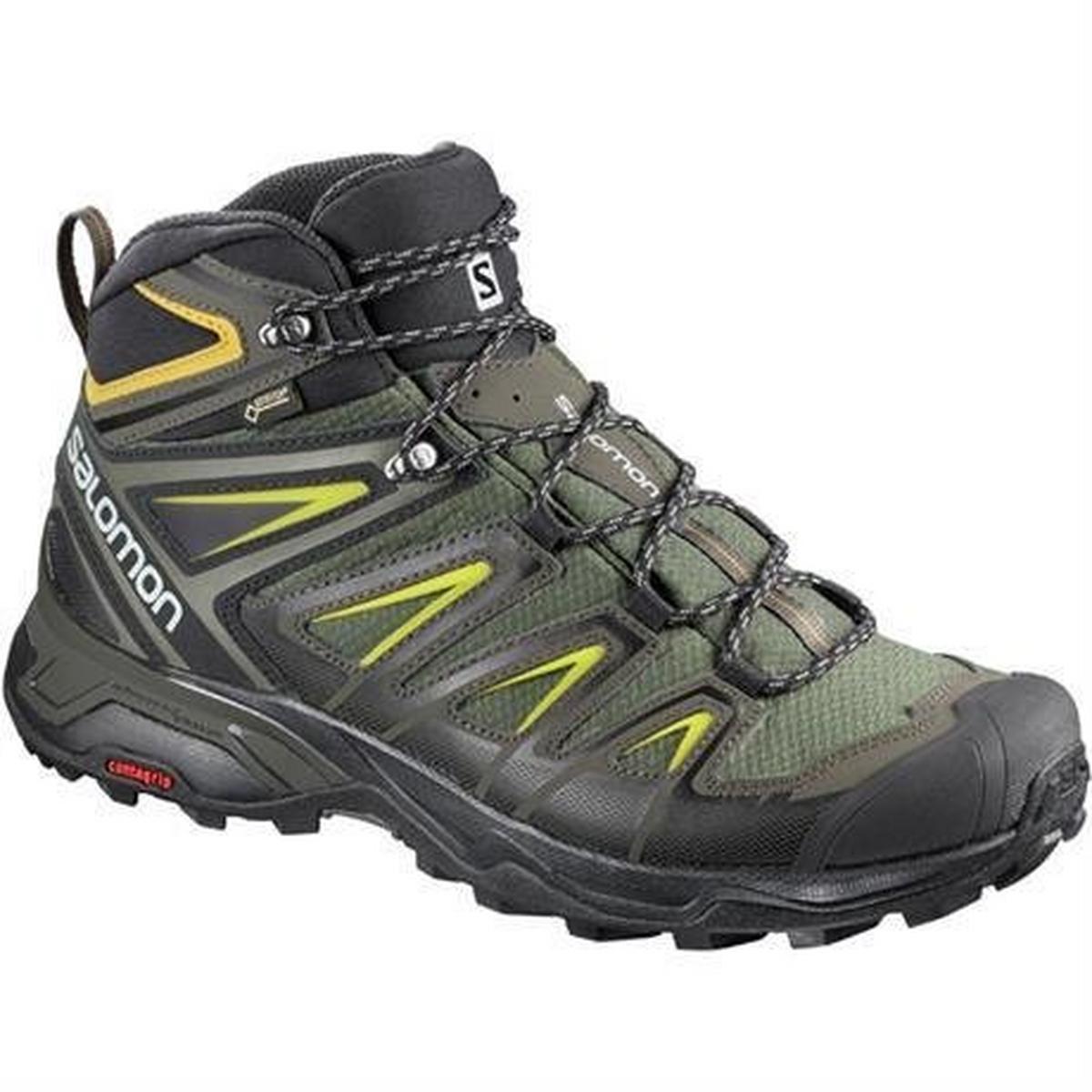 Salomon Boots Men's X Ultra 3 Mid GTX Castor Grey/Black/Green Sulphur