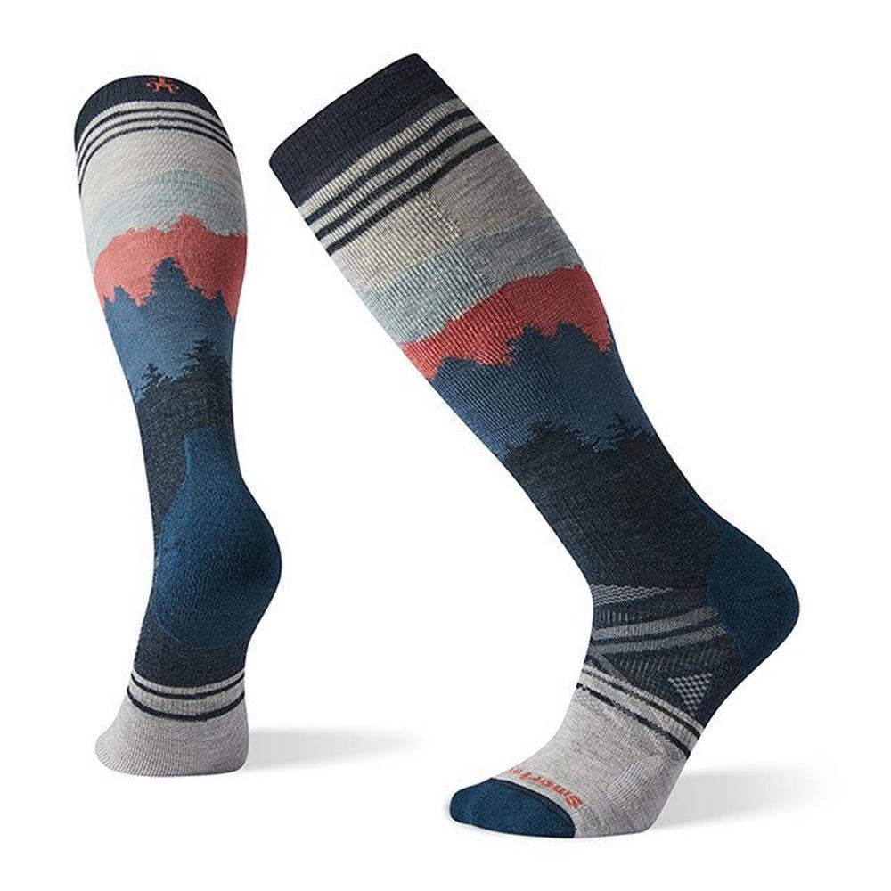 Smartwool Men's PhD Ski Medium Alpenglow Pattern Socks - Ash