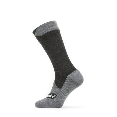 Sealskinz Waterproof All Weather Mid Length Sock - Black/Grey Marl