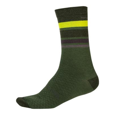 Endura Men's BaaBaa Merino Stripe Sock - Green