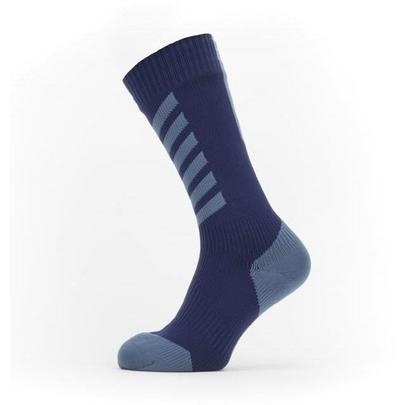 Sealskinz Waterproof Cold Weather Mid Length Sock with Hydrostop - Navy Blue/Red