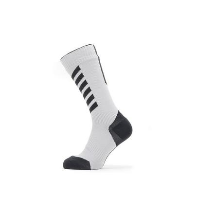 Sealskinz Waterproof Cold Weather Mid Length Sock with Hydrostop - Grey/Black/Yellow