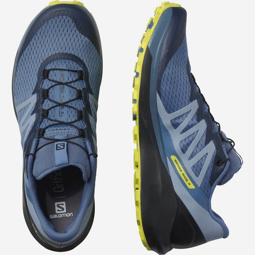 Salomon Men's Sense Ride 4 Trail Running Shoe - Copen Blue/Black/Evening Primrose