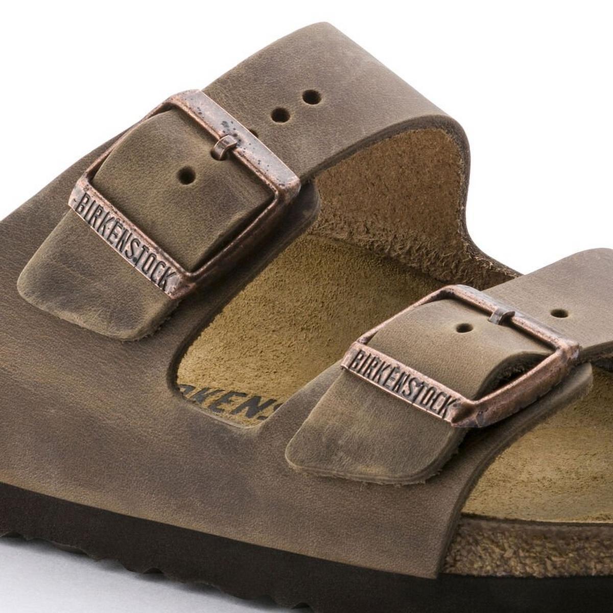 Birkenstock Sandals Arizona Slim Fit Oiled Leather Tobacco Brown