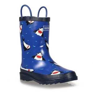 Kid's Minnow Printed Wellington Boots - Shark Nautical Blue