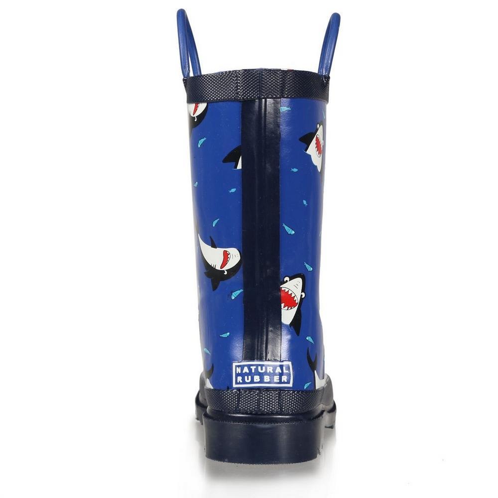 Regatta Kid's Minnow Printed Wellington Boots - Shark Nautical Blue