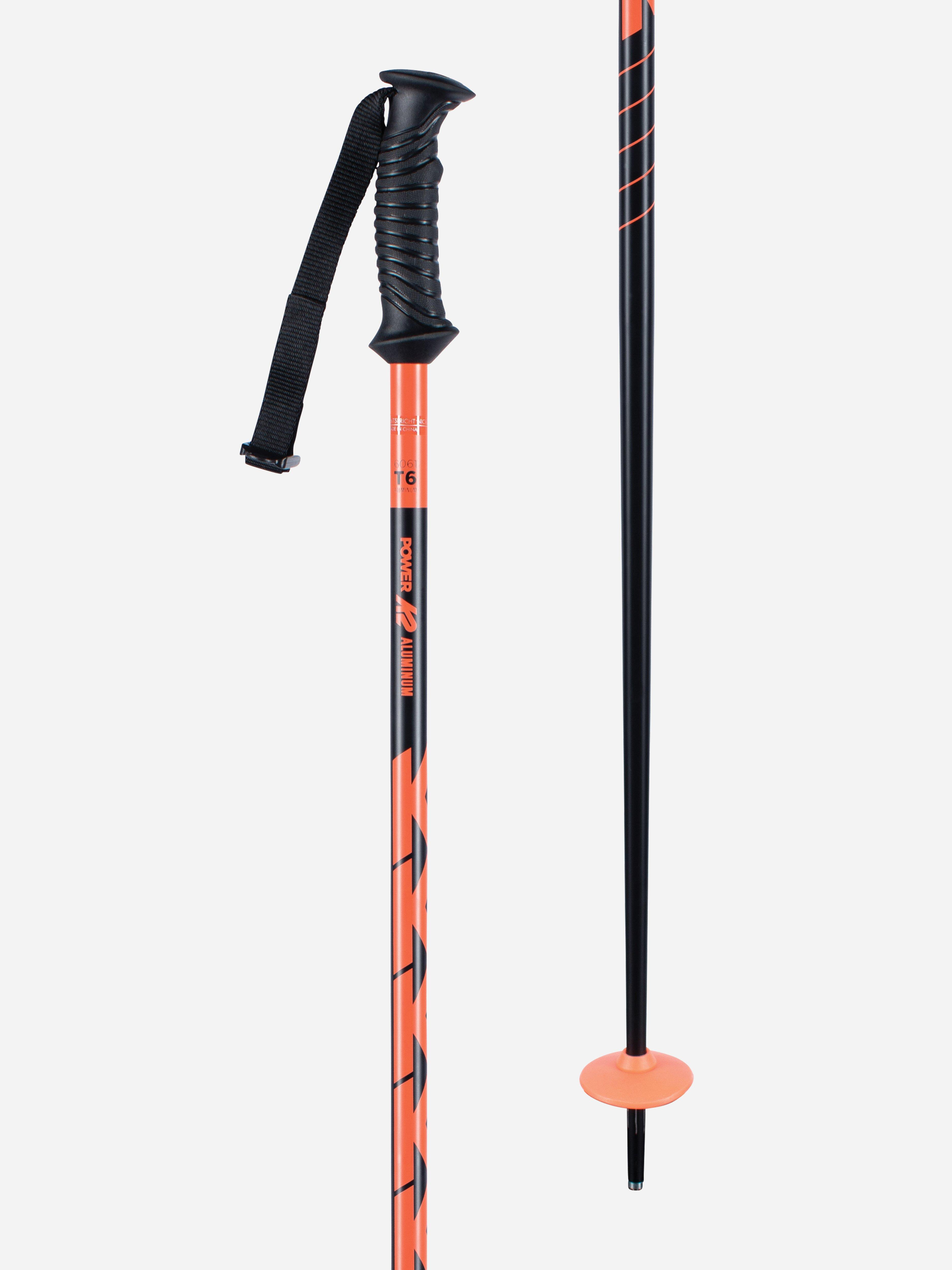 """K2 POWER ALU WHITE//BLACK SKI POLES 50/""""//125cm BRAND NEW FREE PRIORITY SHIPPING!"""
