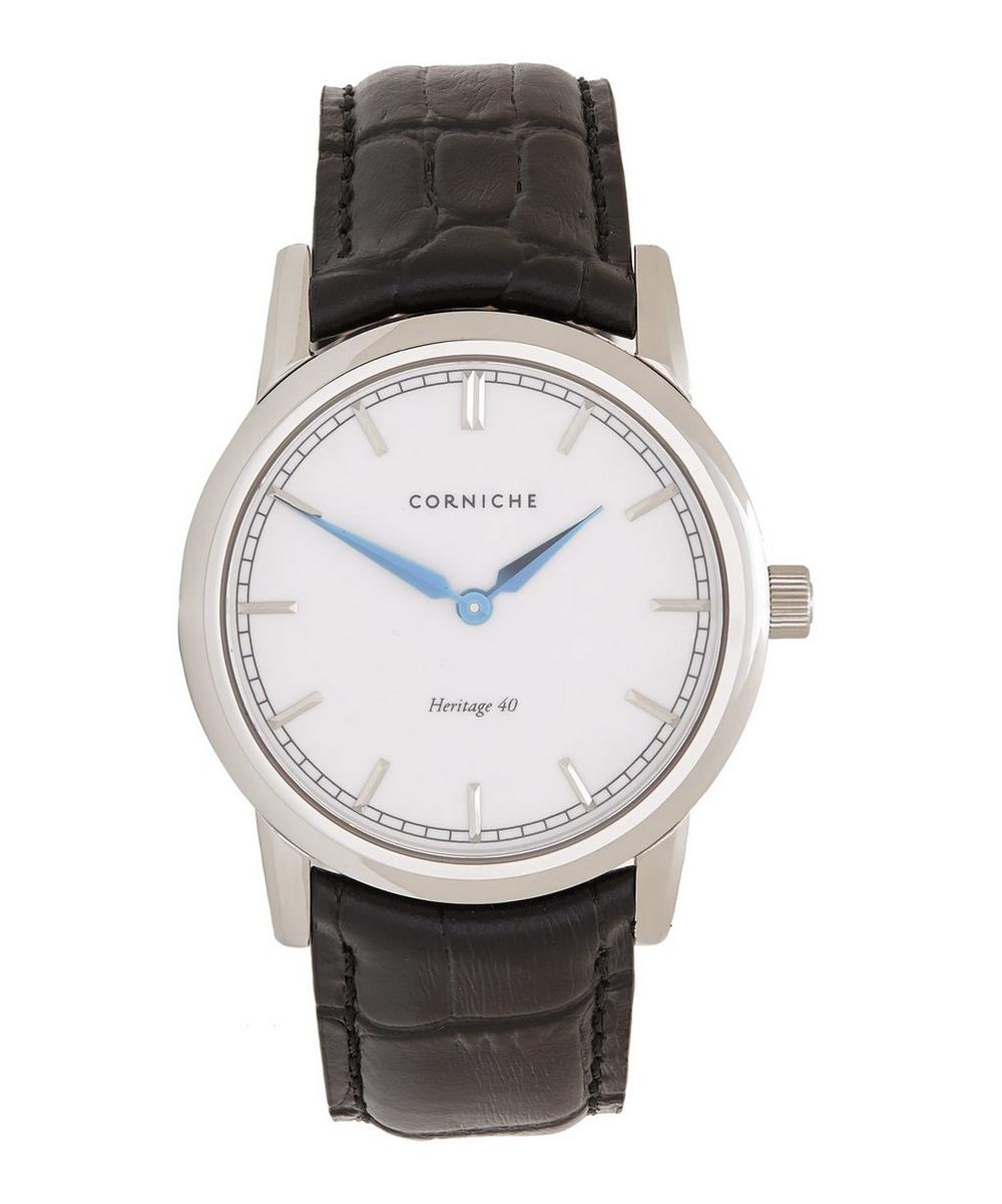 CORNICHE Stainless Steel Heritage 40 White Dial Watch in Silver