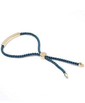 Gold-Plated Linear Blue Cord Friendship Bracelet