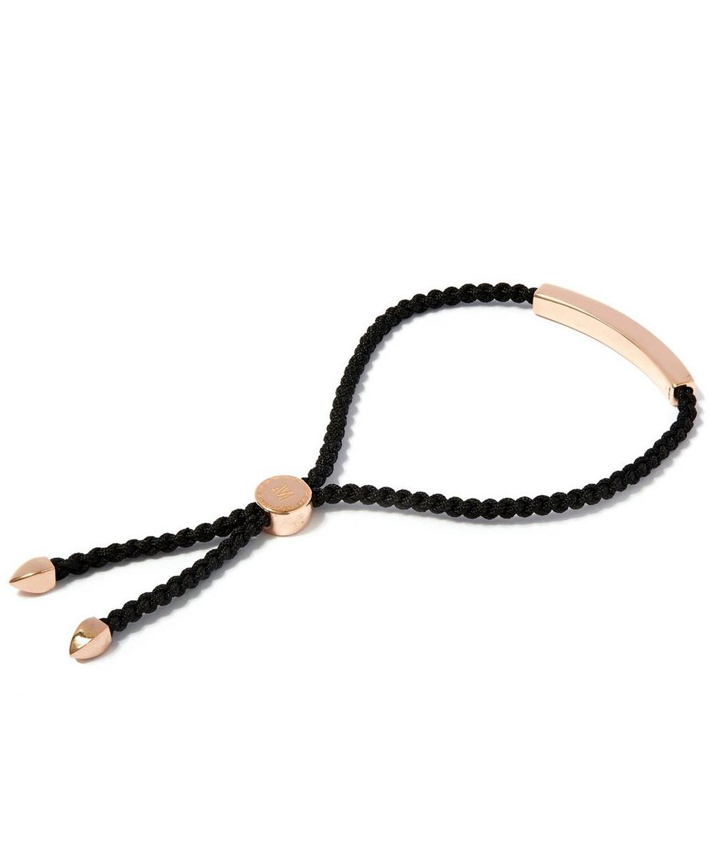 Rose Gold-Plated Linear Friendship Black Cord Bracelet