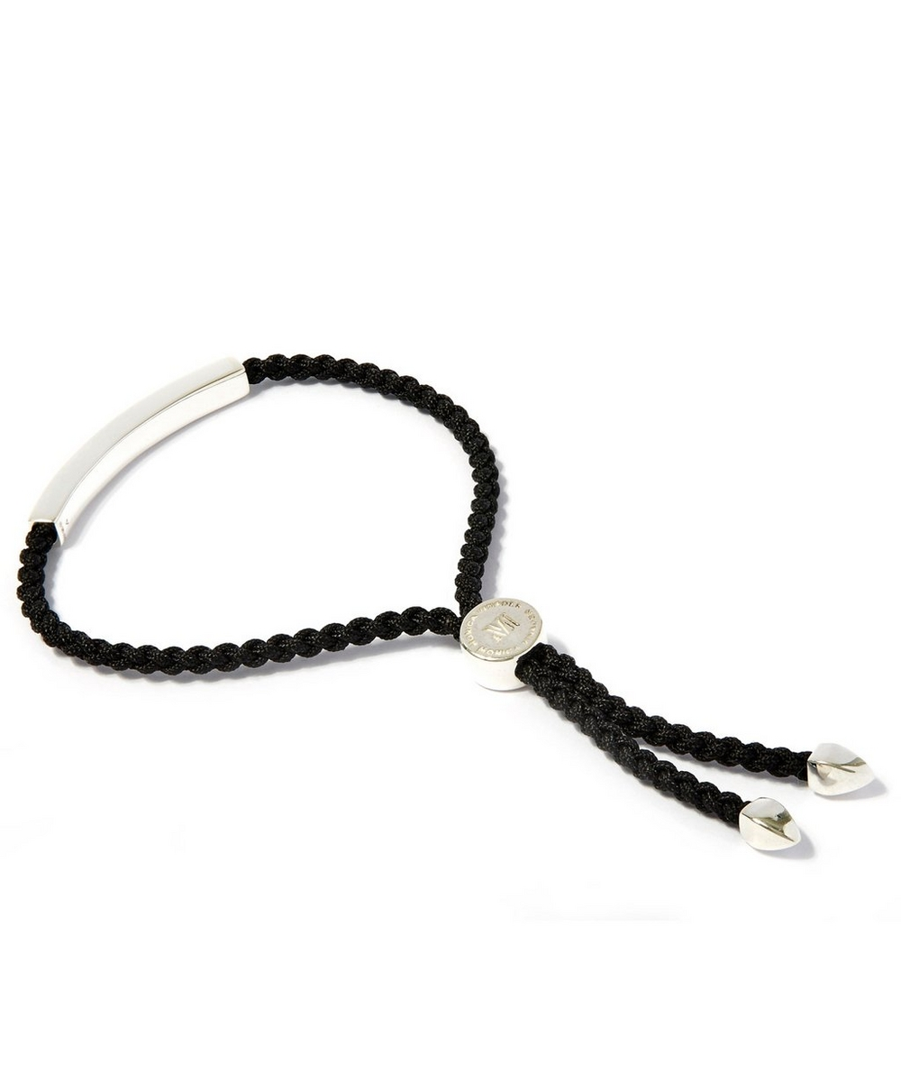Large Silver Linear Friendship Black Cord Bracelet