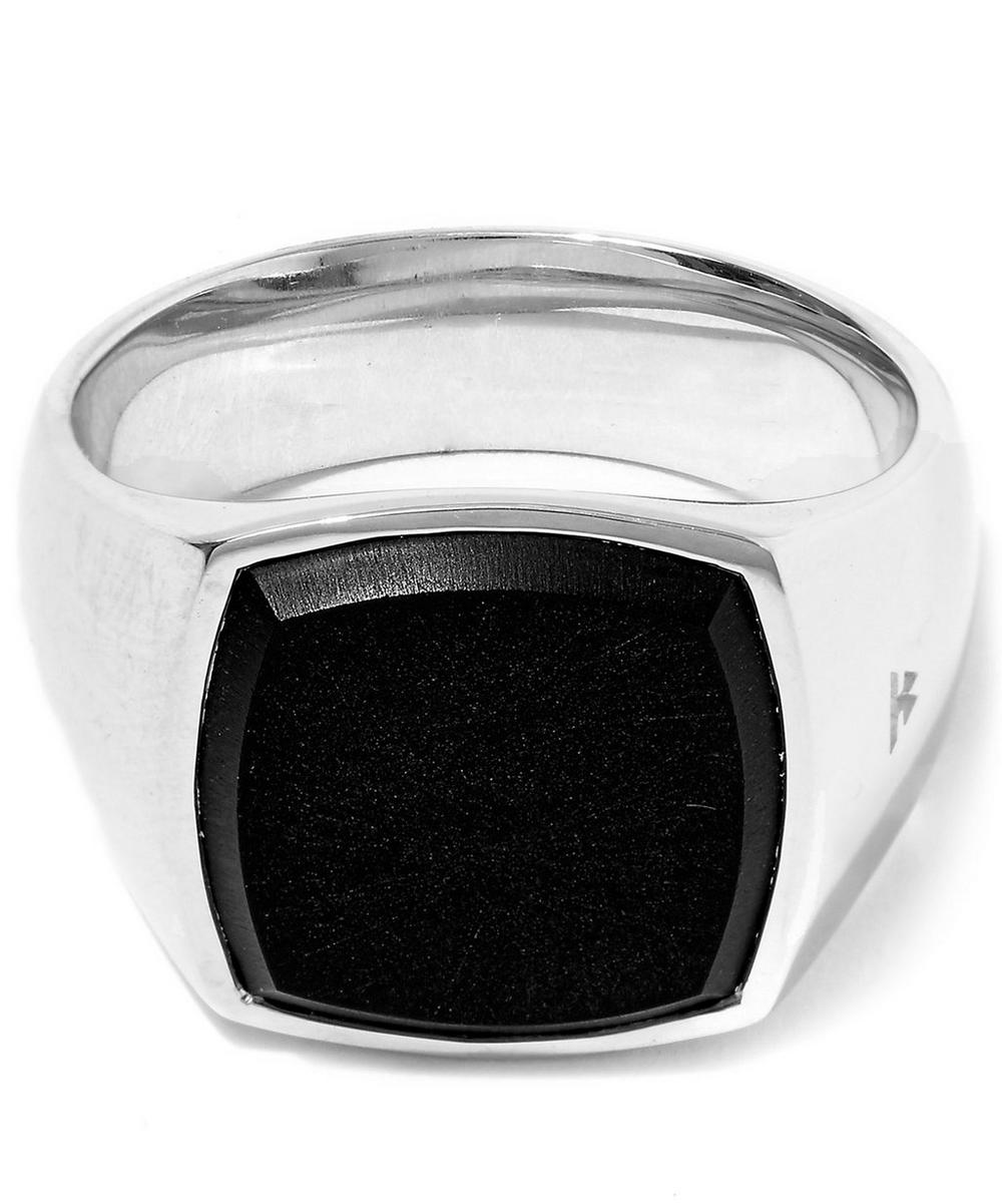 Silver Black Onyx Cushion Ring