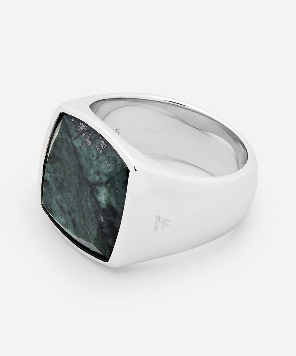 Silver Green Marble Cushion Ring