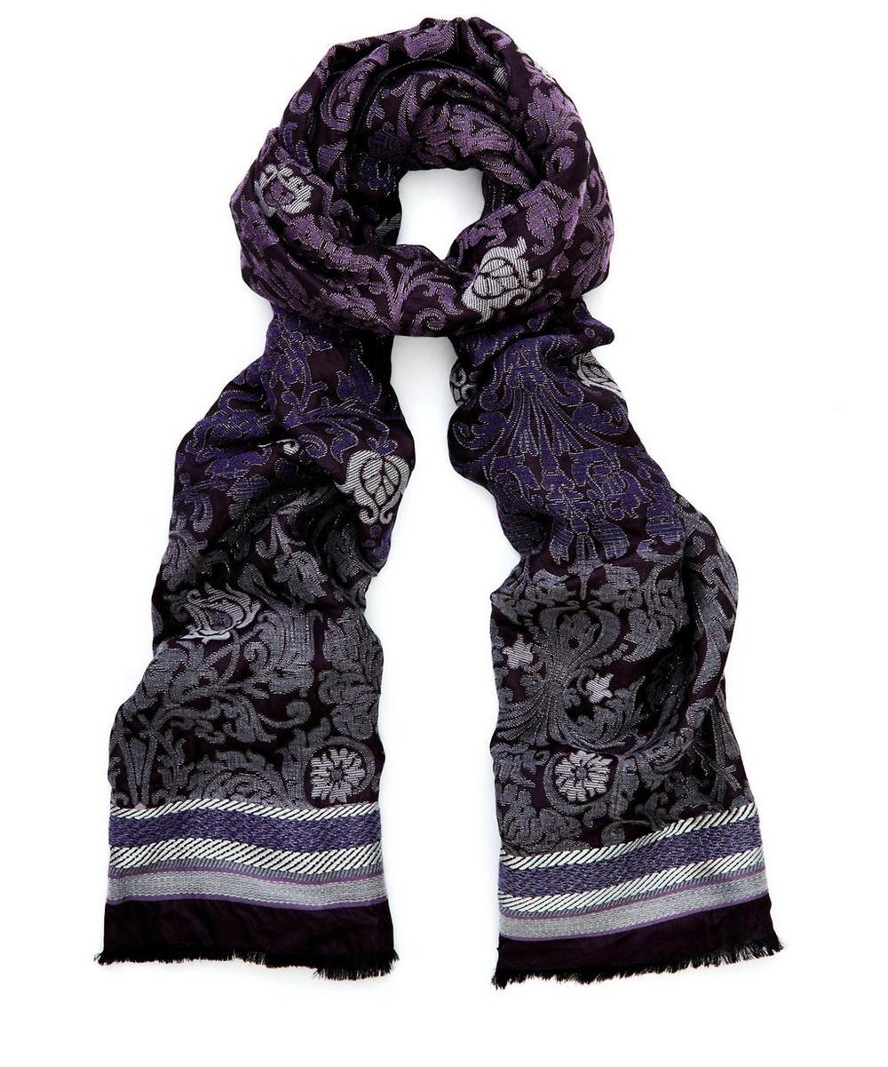 Aurelia Wool And Silk-Blend Jacquard Scarf in Aurelia Purple