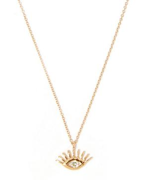 Rose Gold Evil Eye White Diamond Necklace