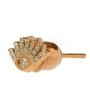 Rose Gold Evil Eye White Diamond Stud Earring