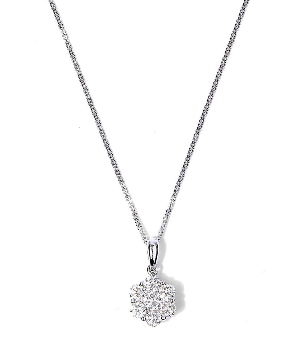 White Gold Seven Diamond Pendant Necklace